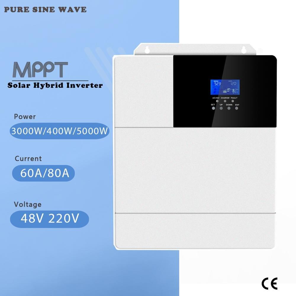 MPPT 60A 80A 3000W 4000W 5000W tout en un onduleur hybride solaire onduleur à onde sinusoïdale Pure 48V 220V 50Hz 60Hz réglage automatique de la priorité