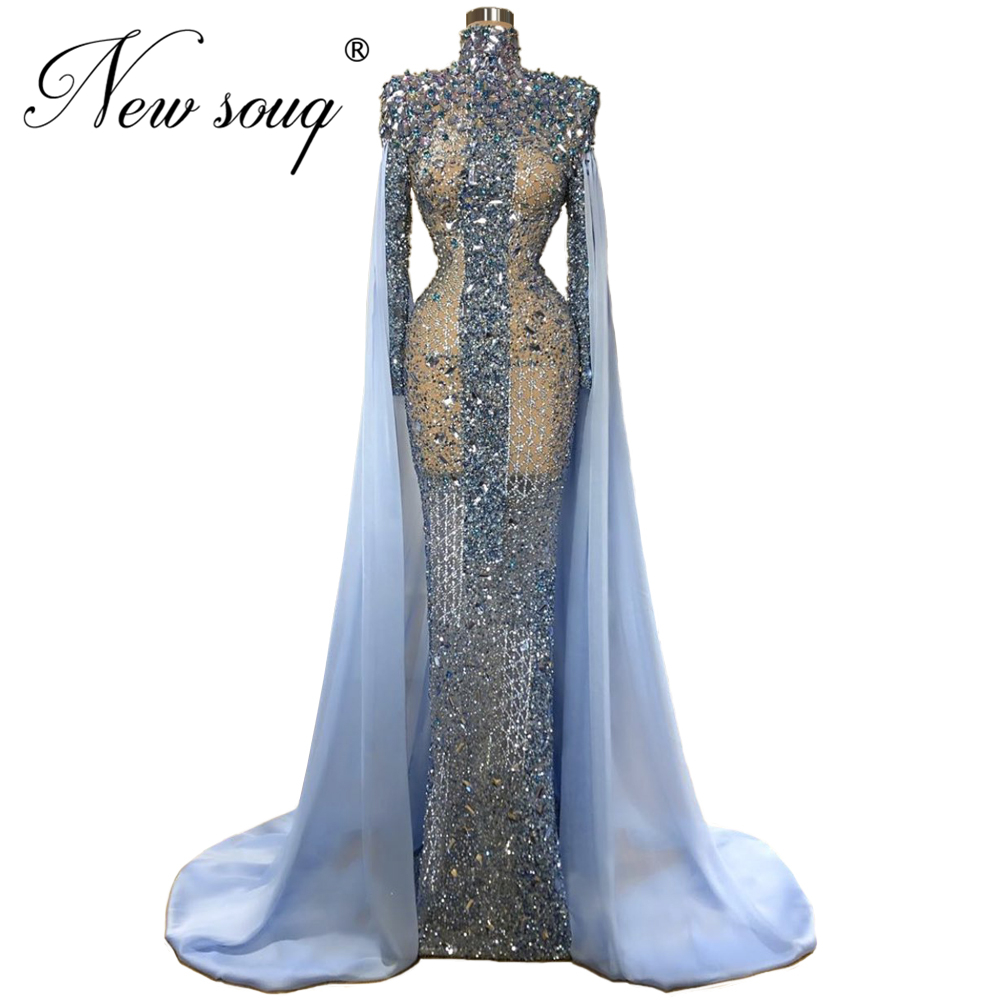 Custom Sheer Blue Beading Prom Dress Abendkleider Mermaid Long Evening Dresses Women Dubai Gown Formal Islamic Kaftans 2020 New