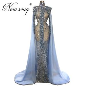 Image 1 - Custom Sheer Blue Beading Prom Dress Abendkleider Mermaid Long Evening Dresses Women Dubai Gown Formal Islamic Kaftans 2020 New