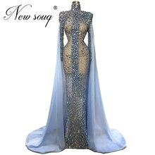 Niestandardowe Sheer Blue frezowanie sukienka na studniówkę Abendkleider syrenka długie suknie wieczorowe kobiety dubaj suknia formalna islamska kaftany 2020 nowy