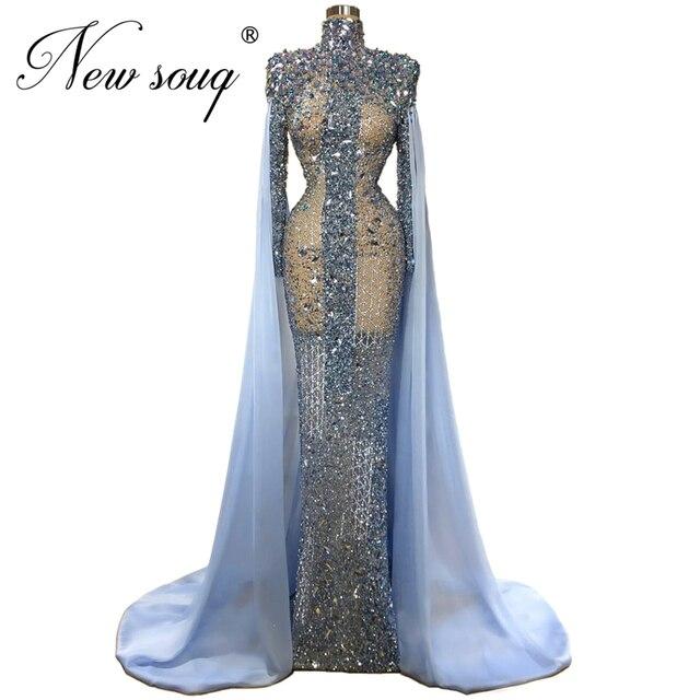 Sheer המותאם אישית כחול ואגלי נשף שמלת Abendkleider בת ים ארוך ערב שמלות נשים דובאי שמלת פורמליות האסלאמי קפטני 2020 חדש