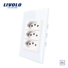 Livolo US Standard 3gang Brazil 20A socket, Crystal Glass Panel, 110~250V Wall Power Outlet, without logo(China)