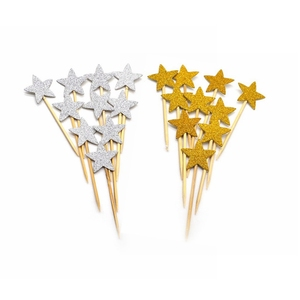 40pcs/lot Mini DIY Handmade Lovly Star Paper Cupcake Toppers Cake Toppers for Kids Birthday Baby Shower Decoration Cake Flags