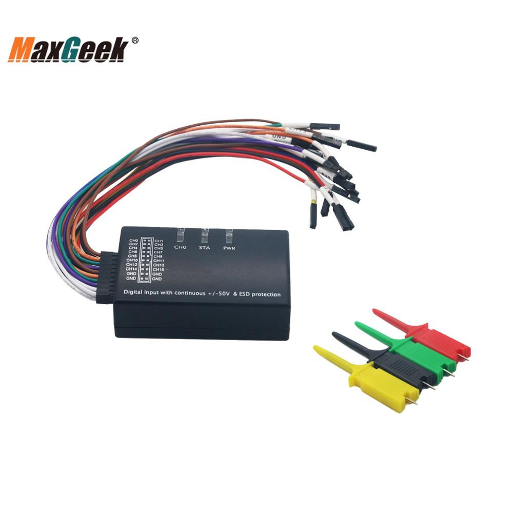 Maxgeek Mini Saleae Logic Analyzer 100MHz Max Sample Rate 16CH USB Support 1.2.10 Software