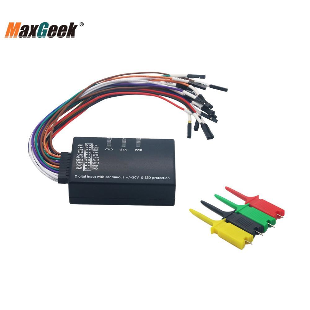 Maxgeek Mini Saleae Logic Analyzer 100MHz Max Sample Rate 16CH USB Support 1.2.10 Software