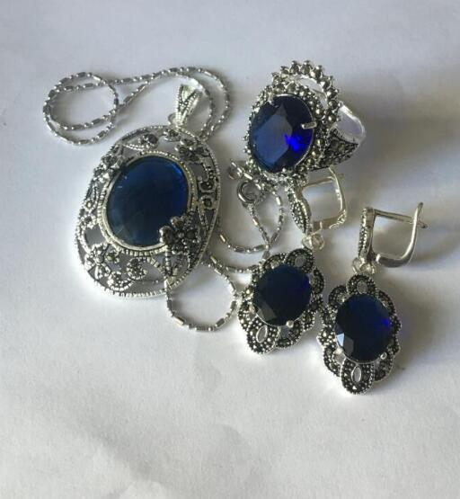 Jewelry Pearl Set Lady S Designed Blue Jade Marcasite 925 Sterling