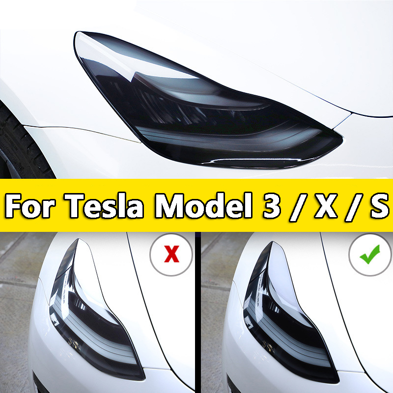 Newest Front Headlamp Car Styling Sticker For Tesla Model3 Model S  Model X Headlamps TPU Smoked Black Headlights Protector Film