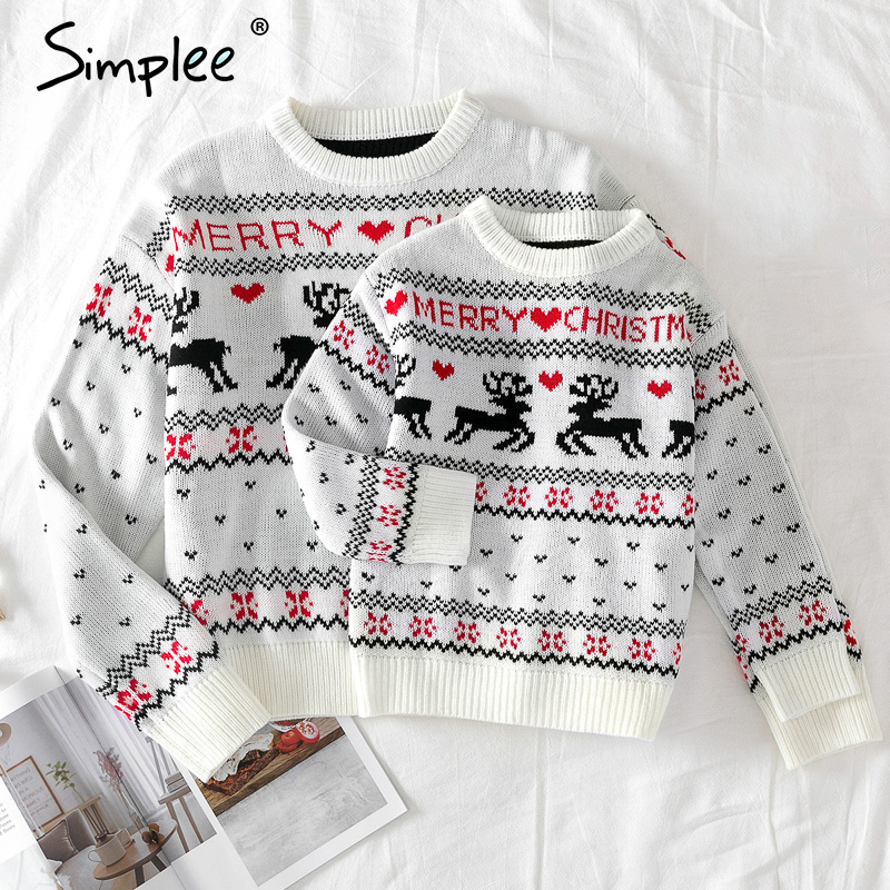 Family Matching Ulgry Christmas Sweater Knitted Xmas Santa Father Mother Daughter Son Christmas New Year Pullover Sweater
