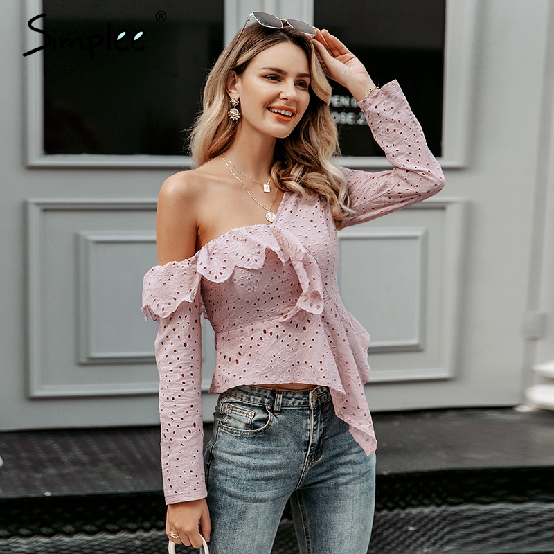 Simplee Sexy one shoulder women blouse shirt Ruffled lace embroidery female asymmetrical tops Streetwear ladies white blousesBlouses & Shirts   -