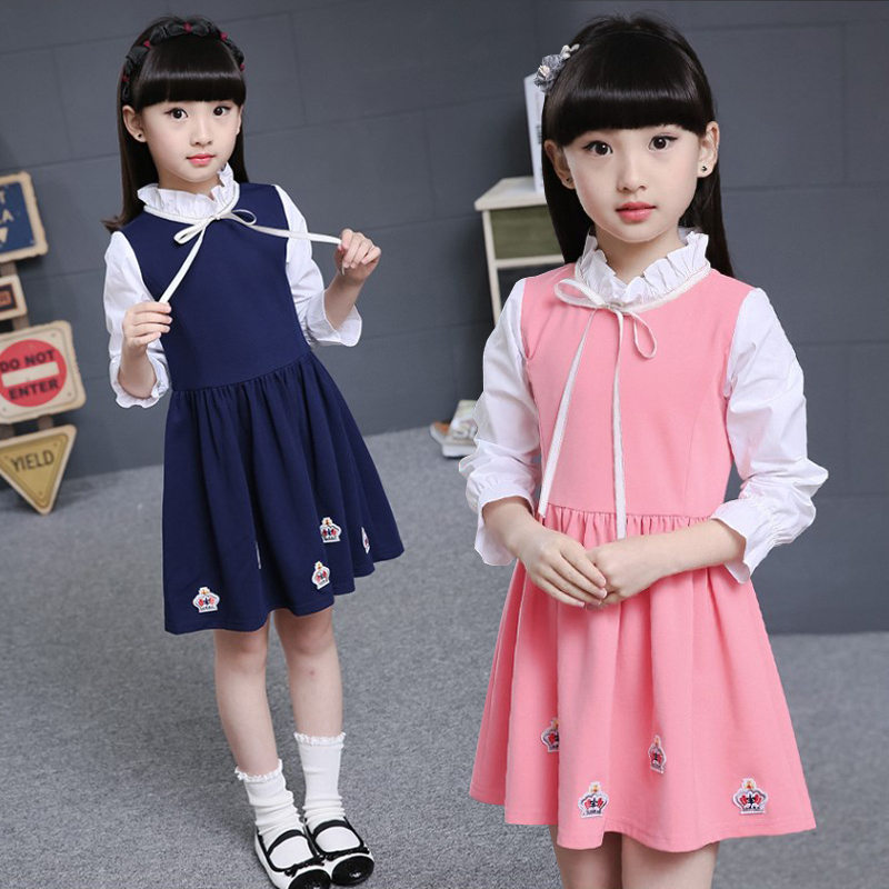 School Girls Old Fashioned Dress Kids Preppy Clothes Dresses For Spring Autumn Long Sleeve Clothing Age 13 to 4 Y