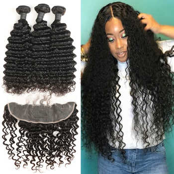 Brazilian Deep Curly Human Hair Bundles with Lace Frontal Closure Remy Hair Bundles with Frontal  Alimice Closure With Bundles - DISCOUNT ITEM  48% OFF All Category