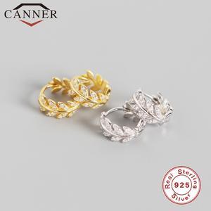 Zircon Earrings Jewelry 925-Sterling-Silver Small Fashion Gold Women for Leave Hoop Olive-Leaf