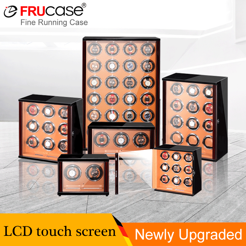 FRUCASE Watch Winder for automatic watches with <font><b>LCD</b></font> touch <font><b>screen</b></font>/Remote control/LED light Watches Storage collector cabinet box image