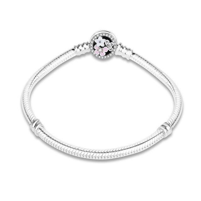 100% 925 Sterling Silver Enamel Flower Charm Chain Fit Original Bracelet Bangle for Women Authentic DIY Jewelry berloque Gift