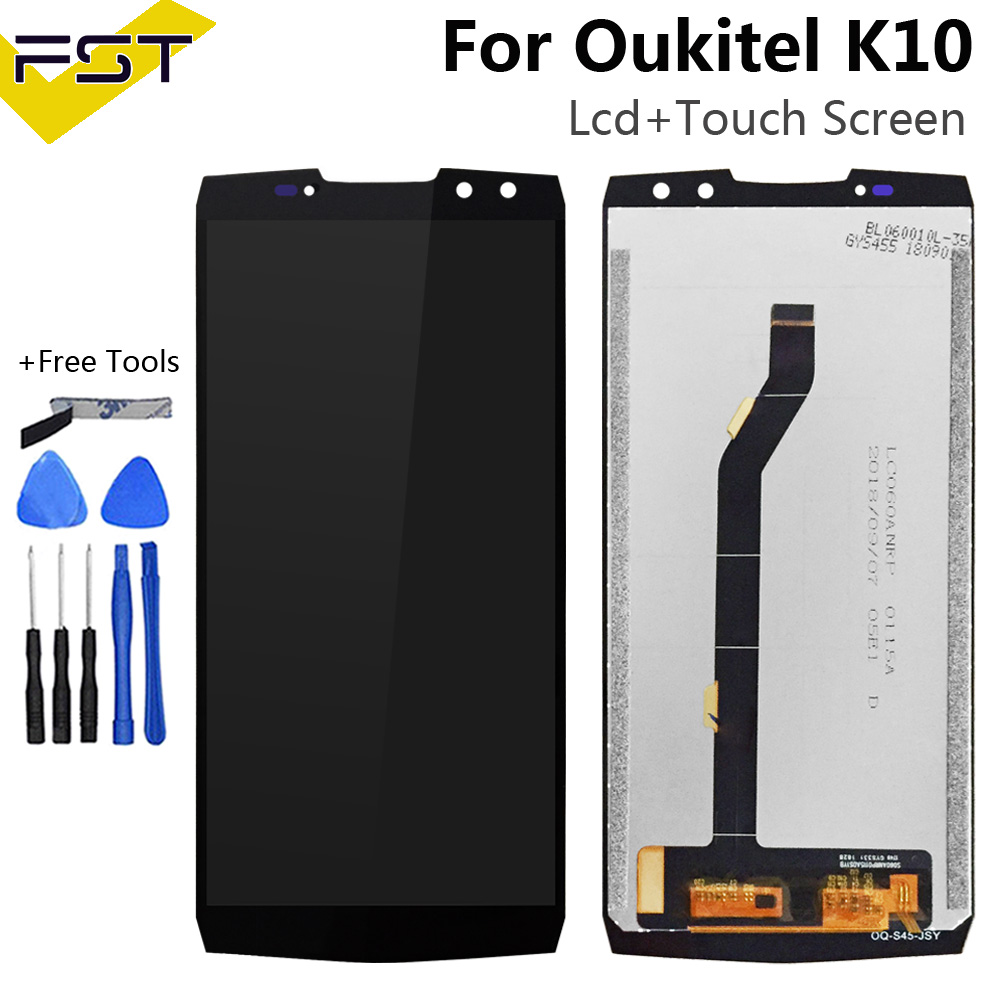 Black For Oukitel K10 LCD Display+Touch Screen Screen Digitizer Assembly Repair Parts+Tools +Adhesive LCD Glass Panel For K10