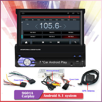 1din 7'' Car Radio Cassette Carplay MP5 Player Mirror Link GPS Navigation Manual Telescopic Screen Bluetooth for Android/IOS image