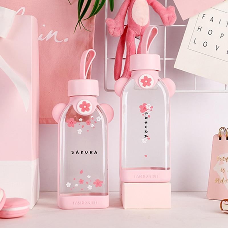 Kawaii Portable Cherry Blossom Sakura Glass Bottle 1