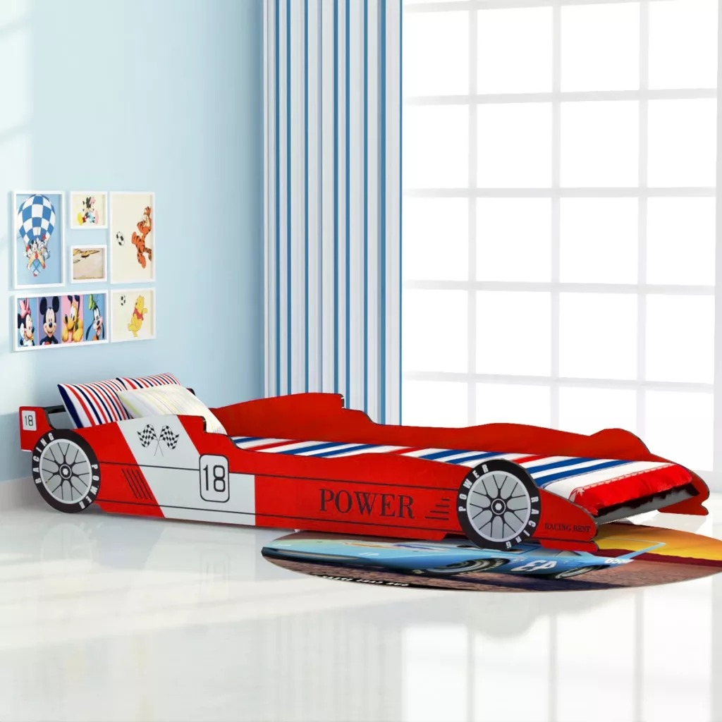 VidaXL Children'S Race Car Bed 90x200 Cm Red Cartoon Car Sharpe Child Bed Easy Assembly For Bedroom Home Furniture