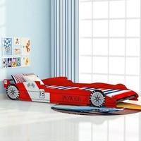 VidaXL Kinder Rennen Bett 90x200 Cm Rot Cartoon Sharpe Kind Bett Einfache Montage Für Schlafzimmer Home Möbel SV3|Betten|Möbel -