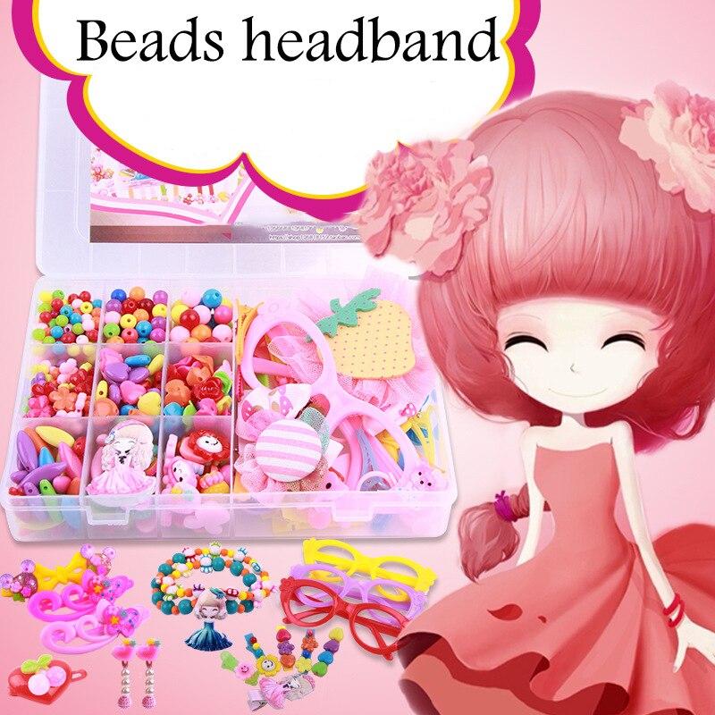 Bricolage à la main perlé créatif fille tissage coiffure collier Bracelet bijoux avec main outil Kit jouets pour filles enfants cadeaux
