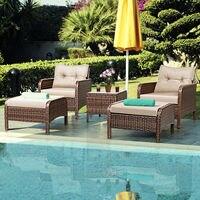 Costway 5 PCS Rattan Wicker Furniture Set Sofa Ottoman W/Brown Cushion Patio Garden Yard   -
