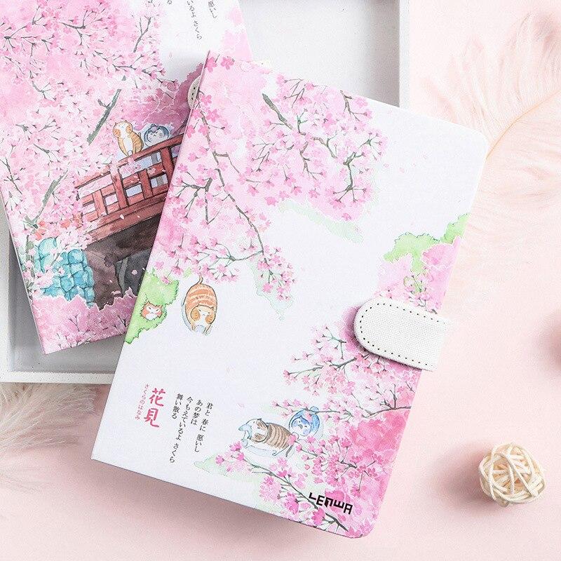 Cute Notebook Kawaii Sakura Planner Book Cherry Blossoms Bullet Journal Girls Stationery School Office Supplies Gifts For Kids