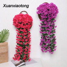Xuanxiaotong 2pc Vivid Violet artificial Hanging Flower Simulation Wall Basket Orchid Fake Silk Peony Vine