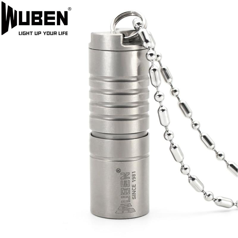WUEBN Mini LED Flashlight Necklace Led Light Titanium Metal 130LM Flashlight LED Lamp With Necklace Portable Design Multipurpose