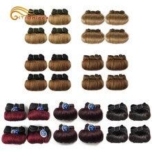 Feixes de Cabelo encaracolado Malásia Cabelo Humano Weave Bundles 4 Pçs/lote Curto Produtos para o Cabelo Ondulado Bundles Humano Extensões de Cabelo Encaracolado
