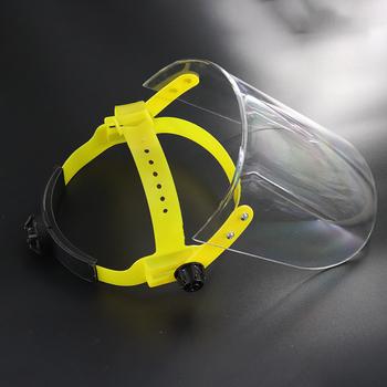 Maska przeciwpyłowa przezroczyste osłony ochronne z PVC osłony ekranu osłony zapasowe do ochrony głowy maska ochronna tanie i dobre opinie HelSurDis NONE Chin kontynentalnych 510710 PVC Faces Shield Screen Mask Yellow Clear