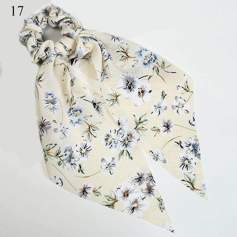 Bohème grande fleur chouchous longs banderoles arc cheveux écharpe femmes filles doux cheveux corde cravates mode cheveux accessoires chapeaux 14