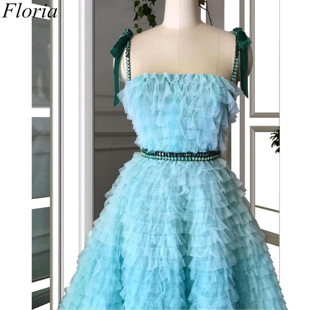 New Arrival Mint Green Prom Dresses Spaghetti Sexy Summer Beach Evening Dresses 2019 Tiered Celebrity Gowns With Sashes Pregnant 5