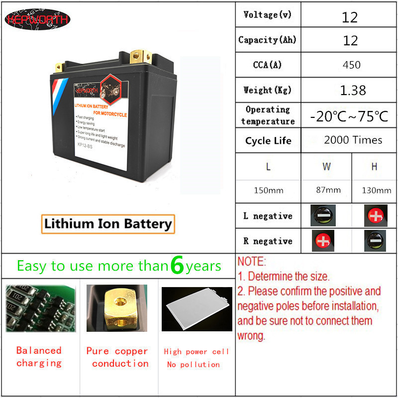 KP12-BS Hot LiFePO4 Battery for Motorcycle 12V 12Ah CCA 450A Lithium iron Motorbike Battery With BMS Board 12000mAh(China)