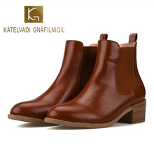 KATELVADI Autumn Winter Boots Women Brown PU Ankle Boots For Women Thick Heel Slip On Ladies Shoes Chelsea Boots K-488 kickway 2018 slip on stretch band rubber boots winter ankle chelsea boots women shoes autumn square heel female footwear 34 42