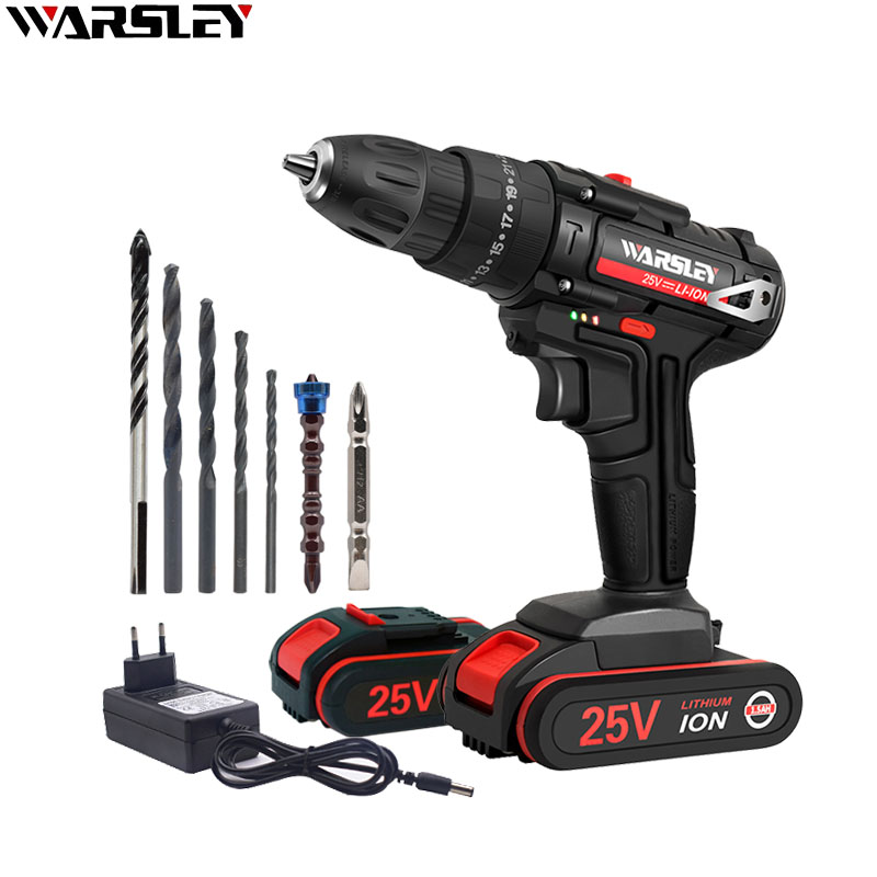 25V Electric Screwdriver Cordless Drill Impact Drill Mini Wireless Power Driver DC Lithium-Ion Battery 3/8-Inch 2-Speed