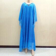 فستان الدانتيل الأفريقي للنساء في الملابس الأفريقية Dashiki الدانتيل الأزرق فستان حجم كبير