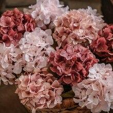 Jedwabna hortensja sztuczne kwiaty ślub dekoracja domu duże sztuczne kwiaty hortensja DIY wystrój dla hotelu strona wieniec dostaw