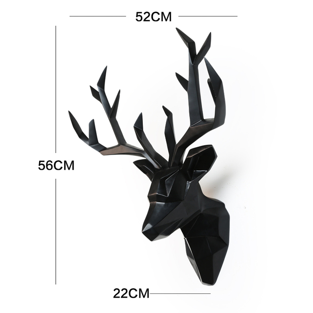 Large 3D Deer Head Statue Sculpture Decor Home Wall Decoration Accessories Animal Figurine Wedding Party Hanging Decorations 6