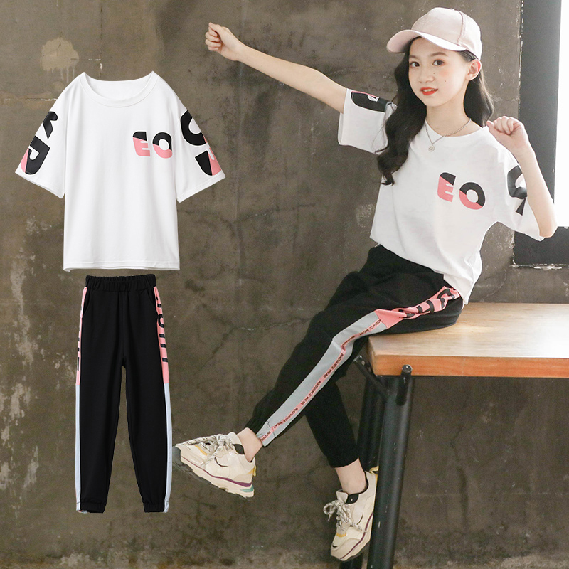 2020 New Summer Girls sports <font><b>Sets</b></font> letter <font><b>tshirt</b></font> + Pants 2 Piece/<font><b>set</b></font> <font><b>Baby</b></font> Girl Clothes 3 4 5 6 8 9 10 12Years Children's Clothing image