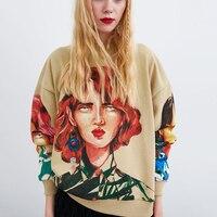 Autumn O Neck Long Sleeve Pullover Knitted Oversize Hoodie Sweatshirts Harajuku Streetwear Character Print Women Sweatshirt