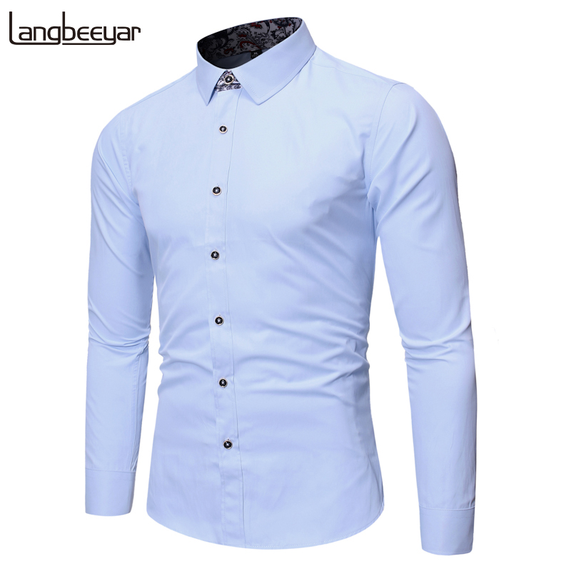 2019 Fall New Fashion Brand Shirts Mens Solid Color Slim Fit Streetwear Long Sleeve Dress Shirt High Quality Casual Mens Clothes