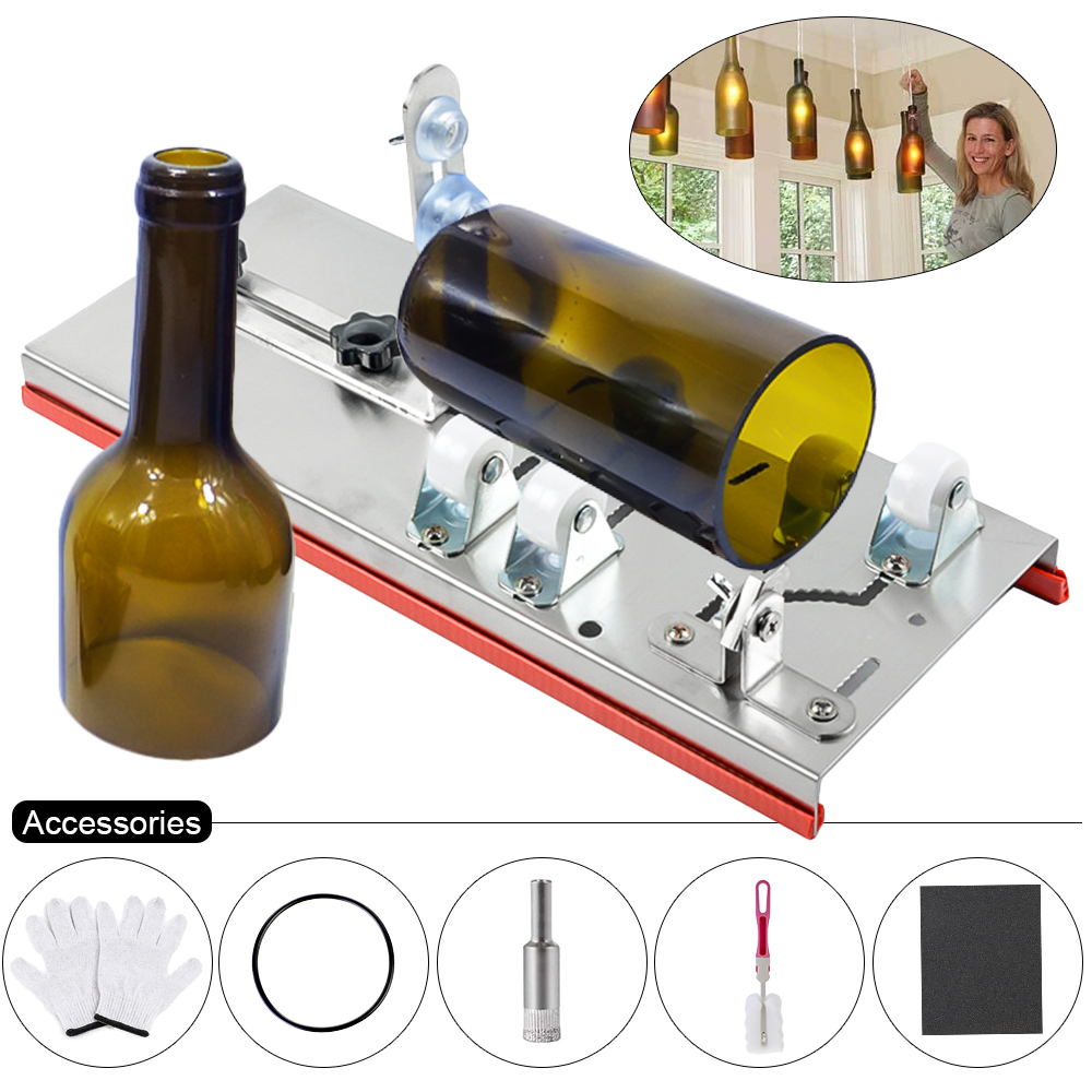 10Pcs Glass Bottle Cutter Machine For Cutting Whiskey Alcohol Champagne Wine Beer Glasses DIY Craft Gloves Tool Kit Accessories