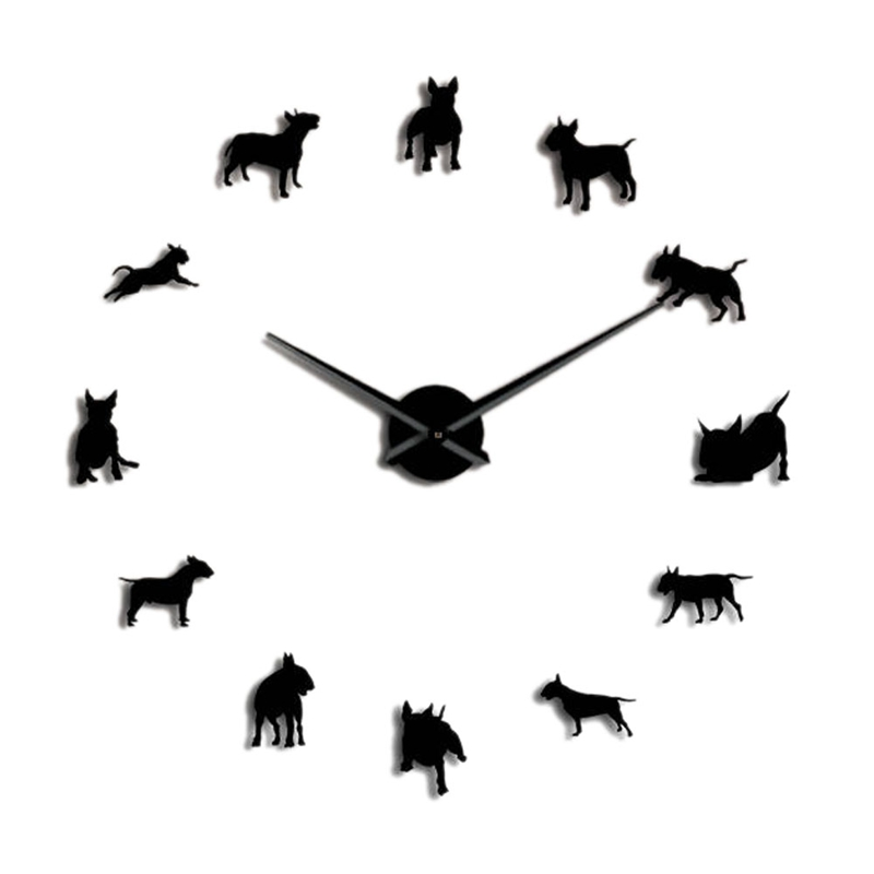 Bull Terrier Dog Wall Art Diy Large Wall Clock Dog Breed Pug Big Needle Clock Watch Pet Shop Decor Gift For Bull Terrier Lovers