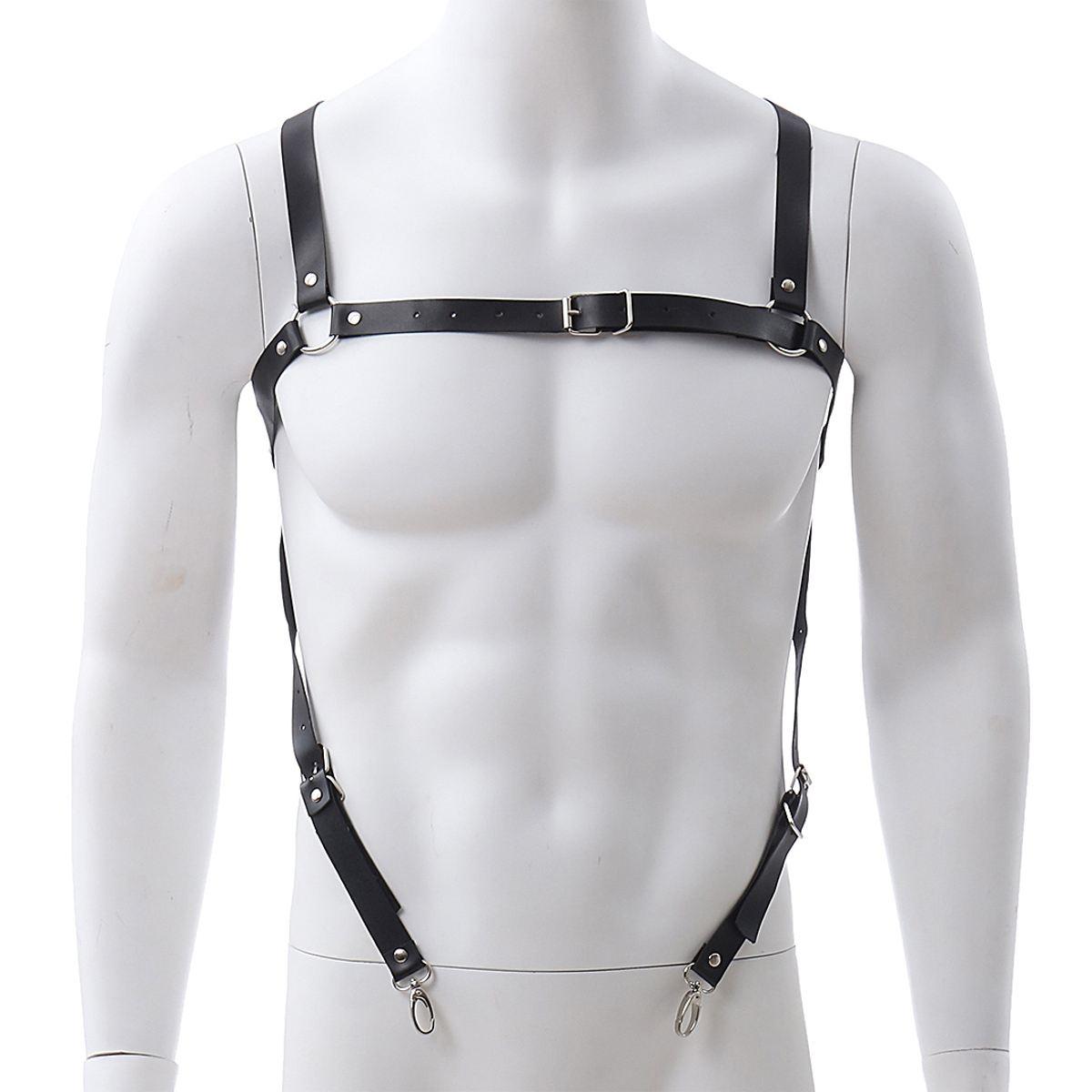 PU Leather Harness Suspenders Belt Adjustable Men PU Dancewear Body Bondage Party Costume Kit Apparel Accessories White/Black