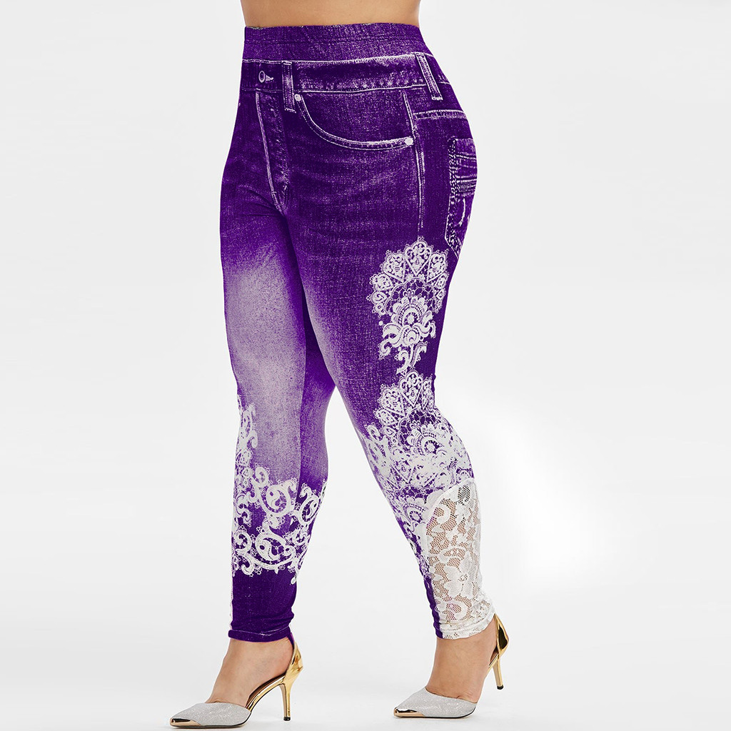 Plus Size Lace Patchwork Leggings For Women Gyme Fitness Leggings Running Stretch Sports Pants Trousers 2019