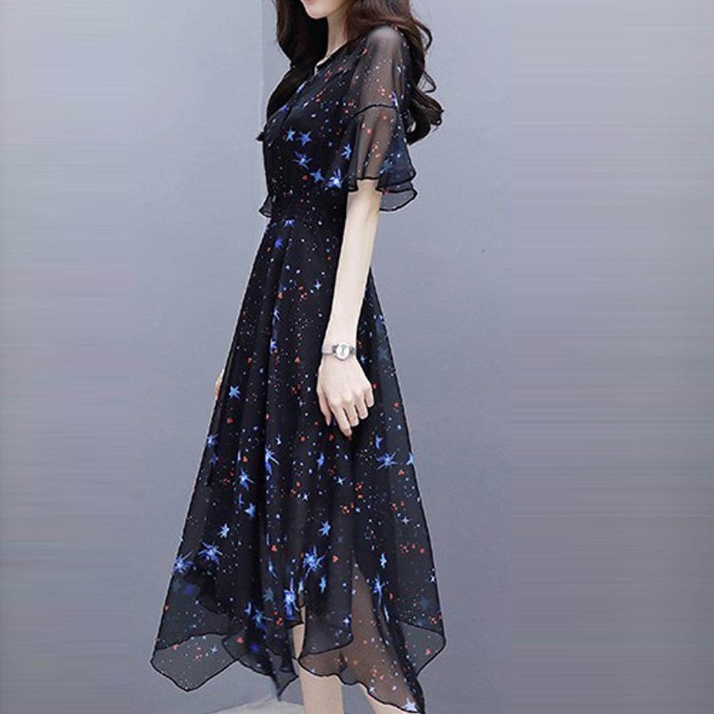 Black Vintage Dress Summer Lady Midi Chiffon Dress 2020 New Korean Fashion Women Flare Sleeve Print Pleated Dress Vestidos#3 2