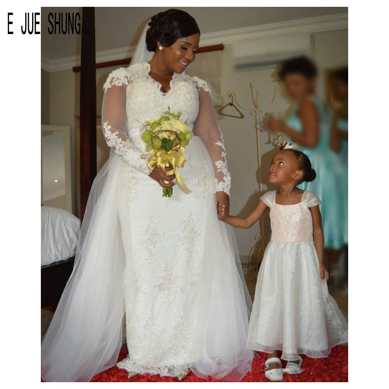 E JUE SHUNG White Luxury African Mermaid Wedding Dresses V Neck Long Sleeves Pearls Sashes Lace Wedding Gowns Robe De Marriage