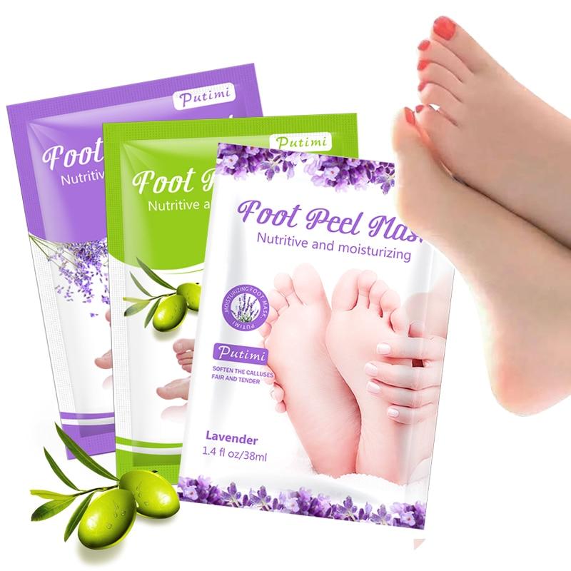 PUTIMI 6pcs=3pair Lavender/Aloe Exfoliating Foot Mask Peeling Dead Skin Whitening Feet Mask For Legs Foot Patch Pedicure Socks