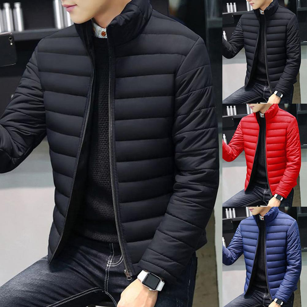 FASHION Plus Size Men Solid Color Stand Collar Long Sleeve Cotton-padded Coat Outwear 2019 HOT SALE
