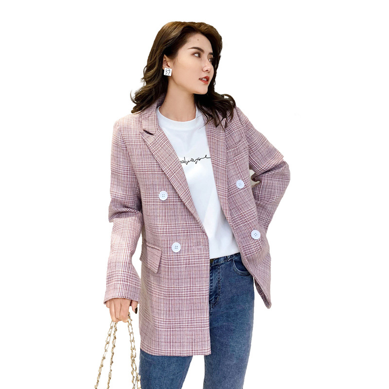 Blazer Feminino Small Suit Female Autumn New Fashion Casual Check Jacket Double-breasted Slim Plaid Suit Women's Clothing